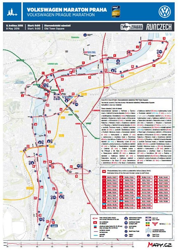 Маршрут марафона в Праге 2016