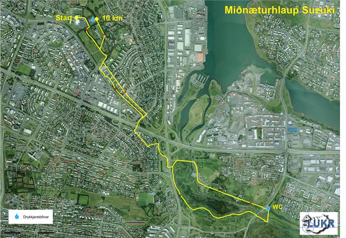 Трасса забега на 10 км в Рейкьявике 2018