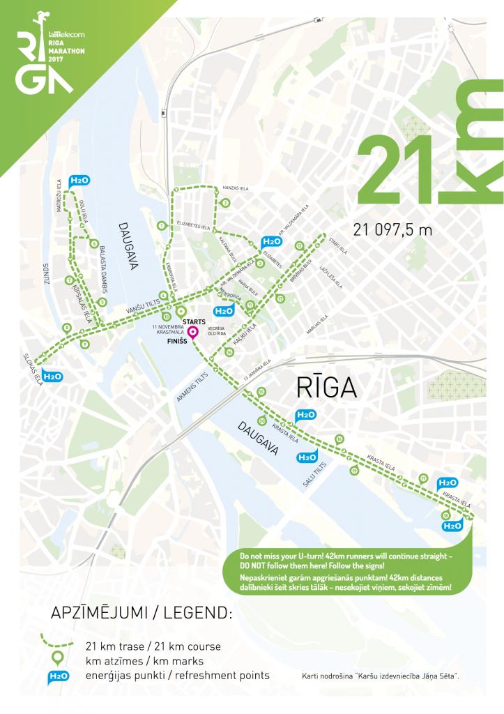 Маршрут полумарафона в Риге 2017