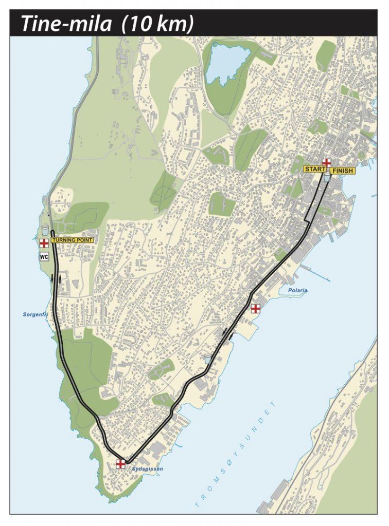 Маршрут 10 км дистанции в Тромсё 2018 (TINE Mila 10 km Race)