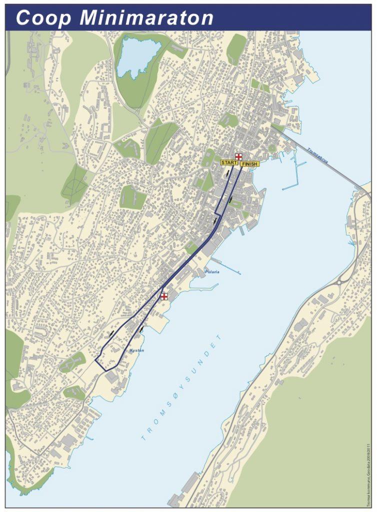 Маршрут дистанции забега на 4,2 км в Тромсё 2018 (Coop Mini Marathon)