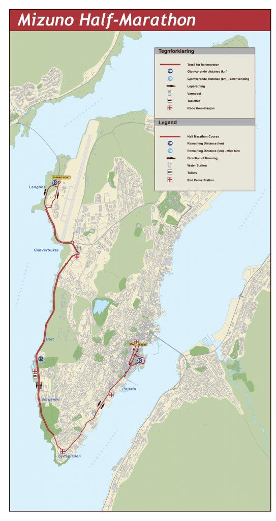 Маршрут полумарафона полуночного солнца в Тромсё 2018 Mizuno half marathon