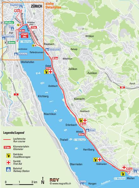 Трасса марафона и марафонской эстафеты в Цюрихе 2018