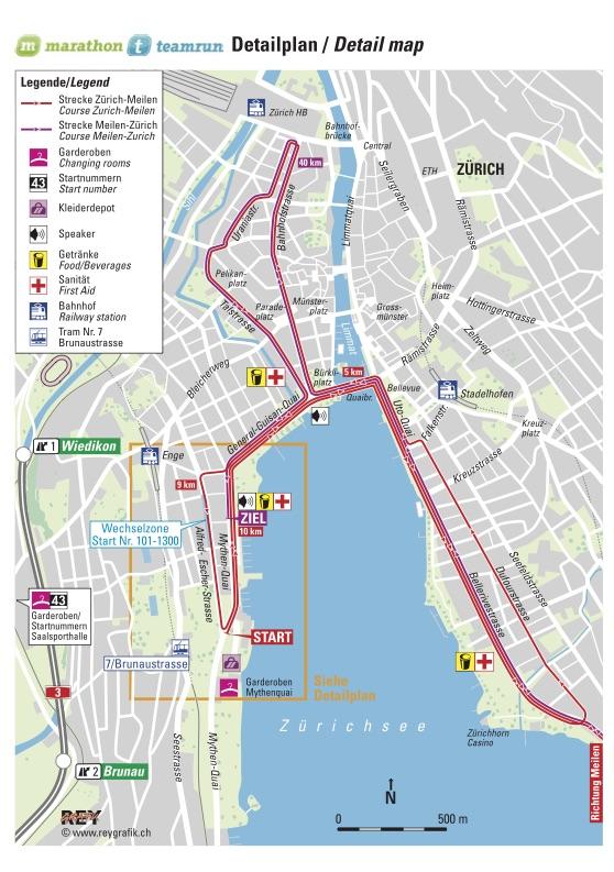 Трасса марафона и марафонской эстафеты в Цюрихе 2018 (детально)