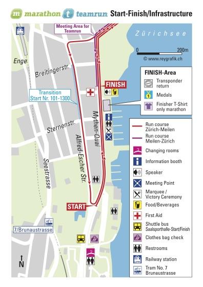 Зона старта/финиша забегов в Цюрихе 2018