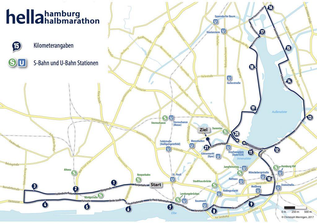 Трасса полумарафона в Гамбурге 2018