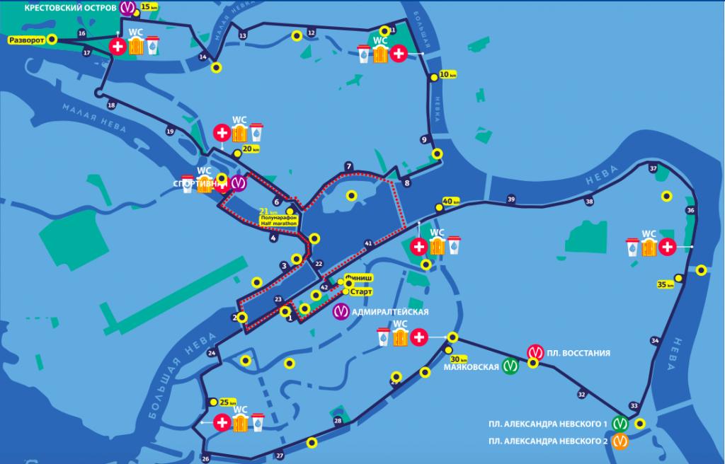 Трасса марафона и 10 км забега Белые ночи в Санкт-Петербурге 2018