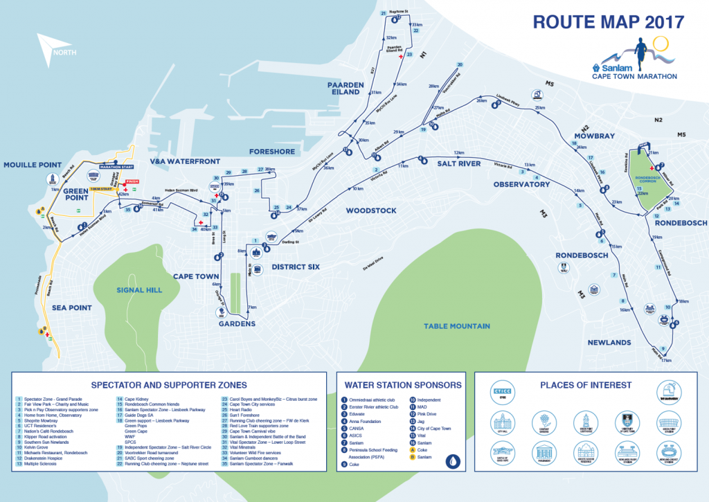 Трасса марафона в Кейптауне 2017