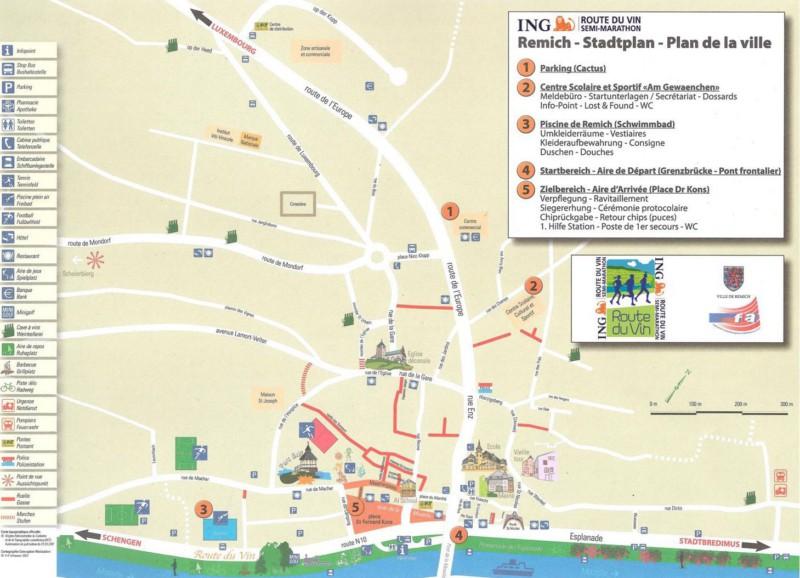 Карта города Ремих (Remich) с зоной старта и финиша Люксембургского полумарафона (ING Route du Vin Semi-Marathon) 2019