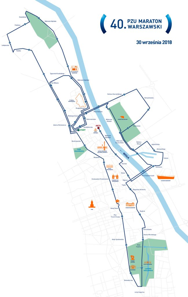 Трасса юбилейного 40-го  Варшавского марафона 2018