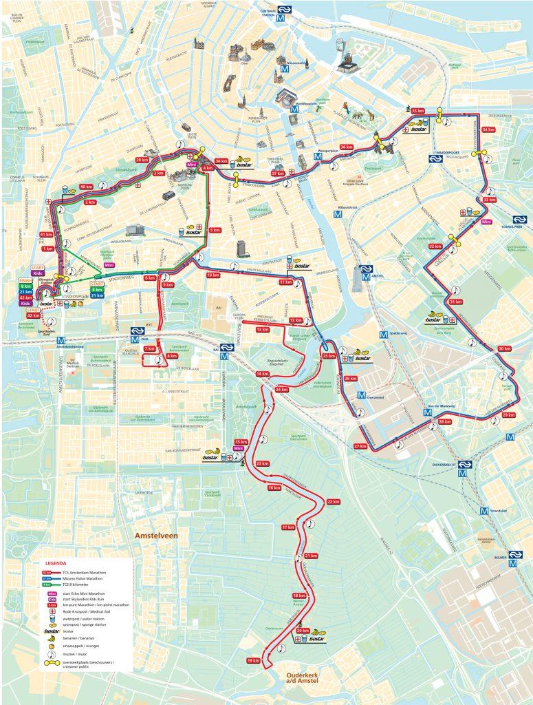 Трасса марафона, полумарафона и 8 км забега в Амстердаме 2018
