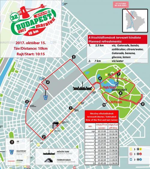Трасса забега на 10 км в Будапеште 2017