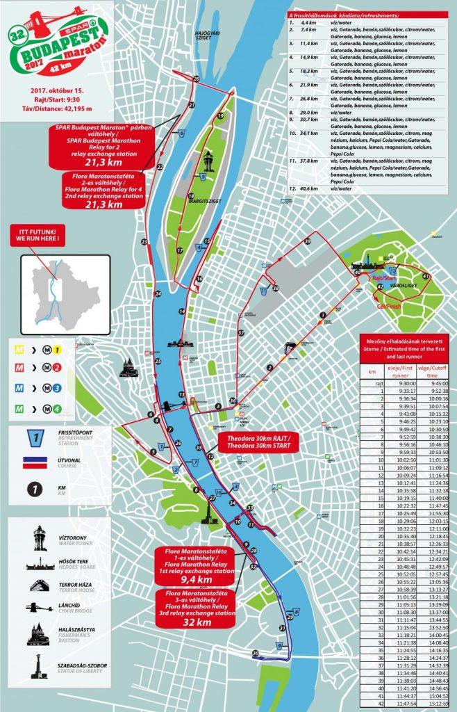 Трассы марафона, марафонских эстафет и 30 км дистанции в Будапеште 2017