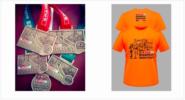 Медаль и фирменная футболка марафона в Будапеште 2016