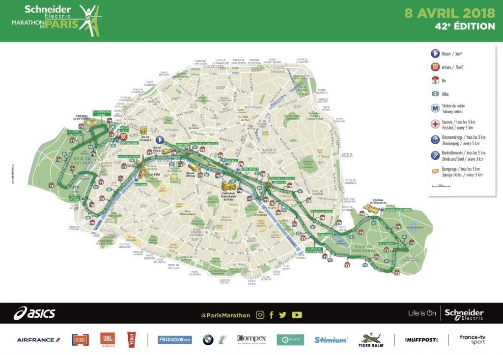Маршрут Парижского марафона