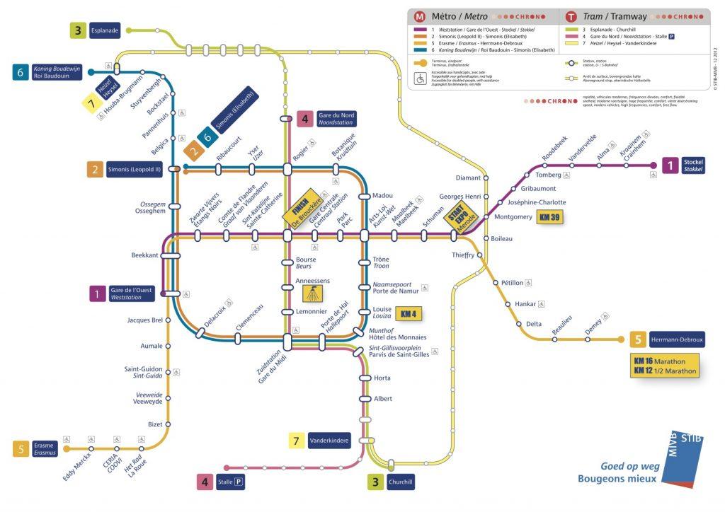 Схема общественного транспорта Брюсселя с отдельными отметками дистанций