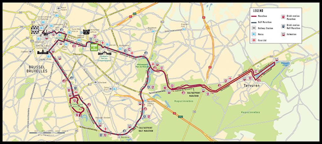 Трасса забегов в рамках Брюссельского марафона и полумарафона (Brussels Airport Marathon & Half Marathon)