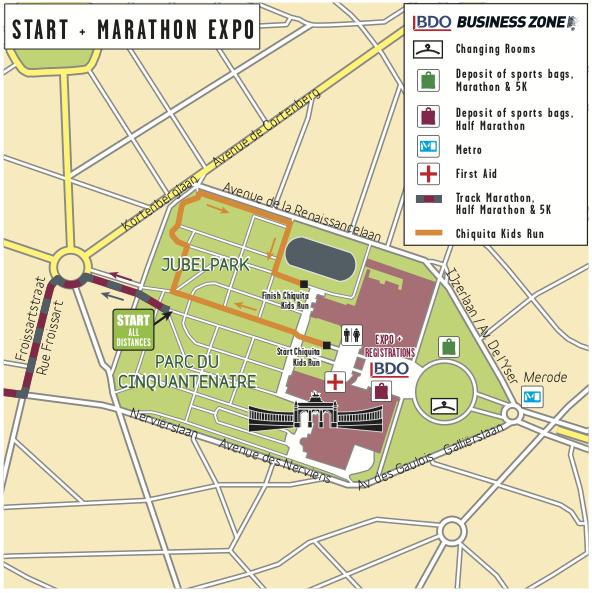 Зона старта и павильон выставки Brussels Marathon Expo