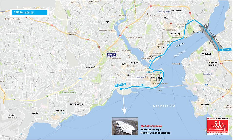Маршрут забега на 15 км в рамках Стамбульского марафона 2018