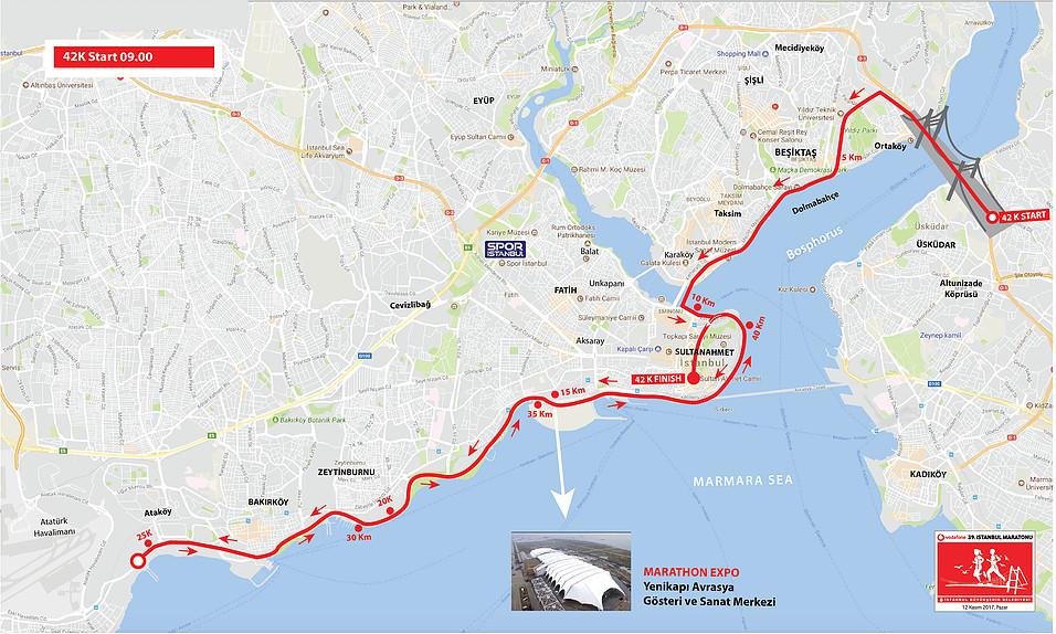 Маршрут Стамбульского марафона 2018