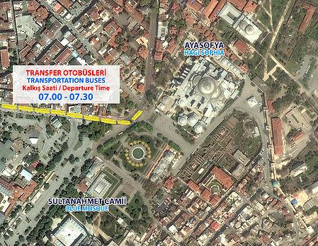 Место отправления автобусов на старт Стамбульского марафона 2018 с площади Султанахмет