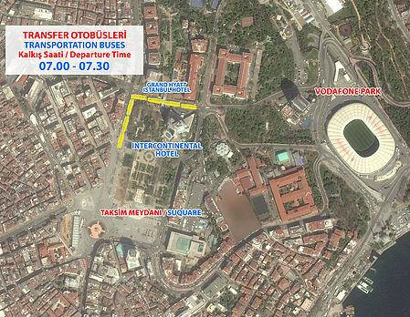 Место отправления автобусов на старт Стамбульского марафона 2018 с площади Таксим
