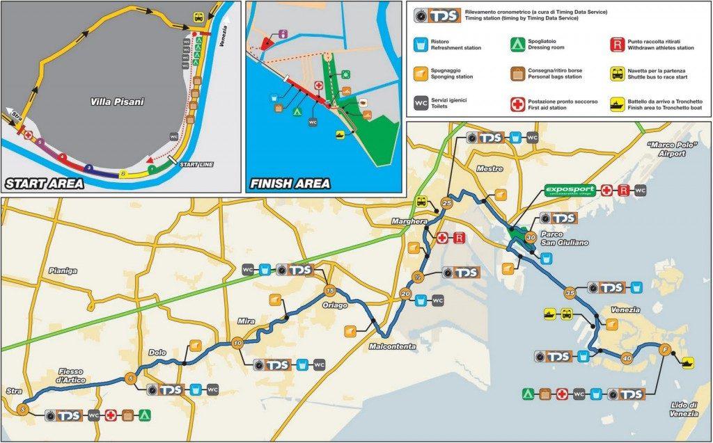 Маршрут марафона в Венеции 2018