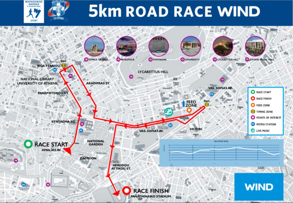 Маршрут забега на 5 км в рамках Афинского марафона 2018