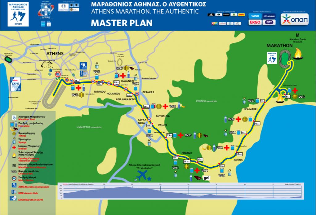 Трасса Афинского марафона 2018
