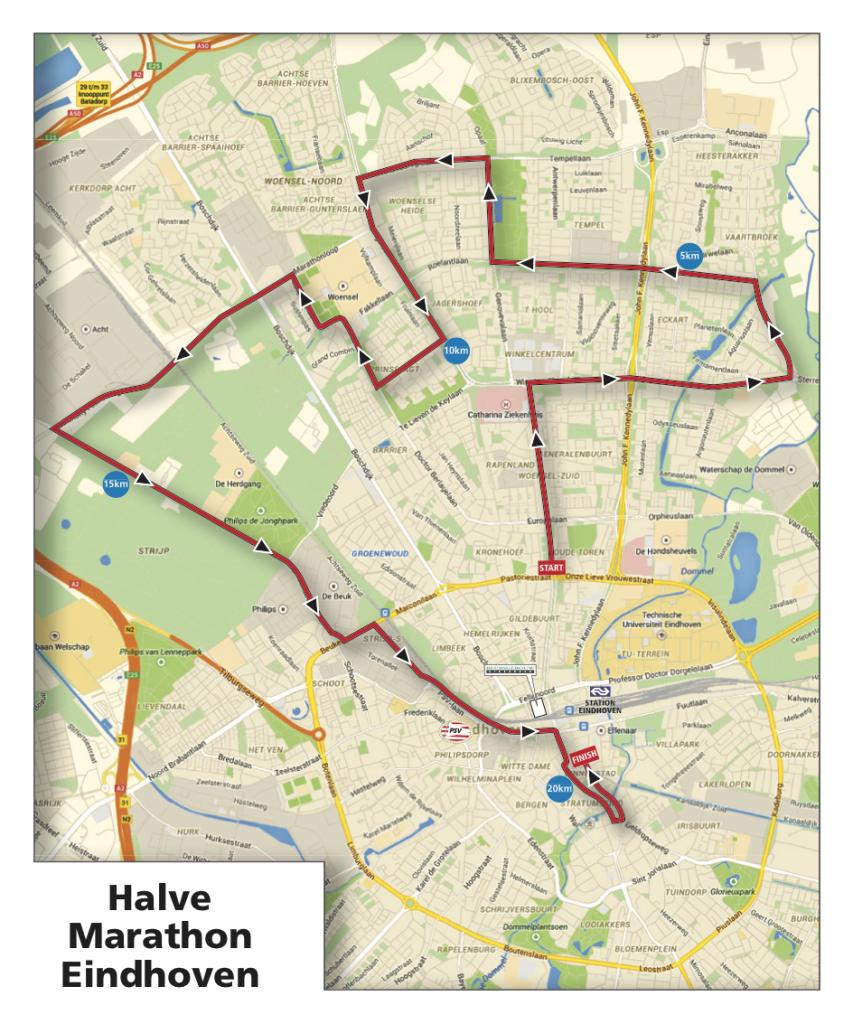 Трасса полумарафона (Eindhoven Half Marathon)