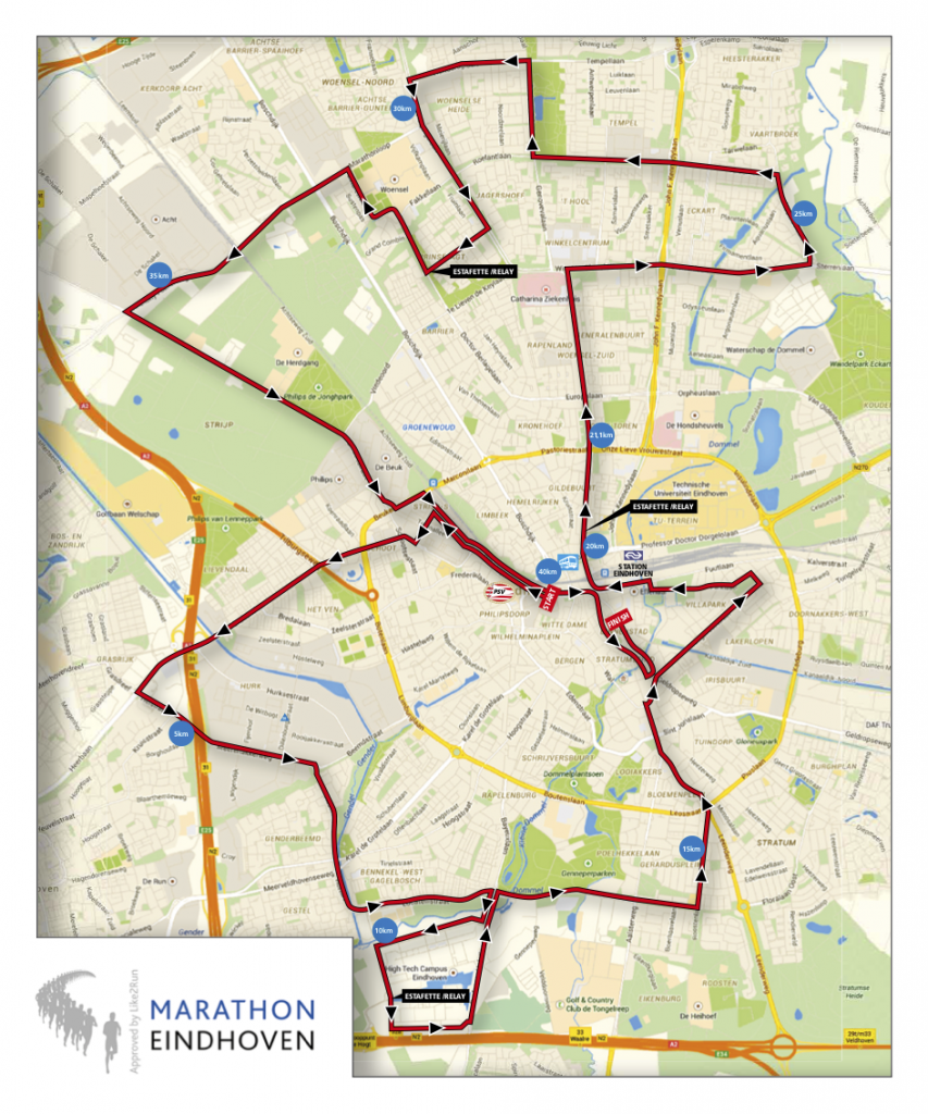 Трасса марафона (Marathon Eindhoven powered by ASML) и эстафеты (Business Relay Marathon)