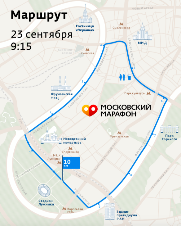Трасса забега на 10 км в рамках Абсолют Московский марафон 2018