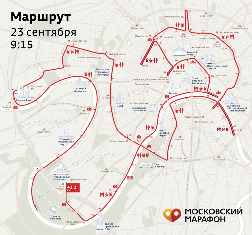 Трасса Абсолют Московский марафон 2018