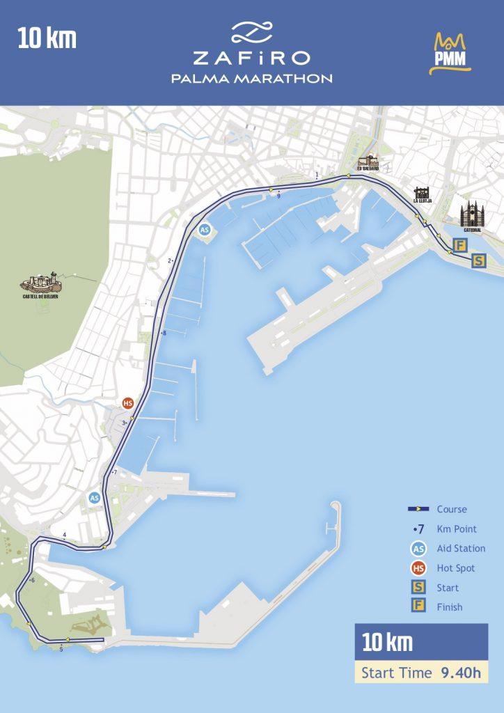 Трасса забега на 10 км в рамках марафона в Пальма-де-Майорка 2018