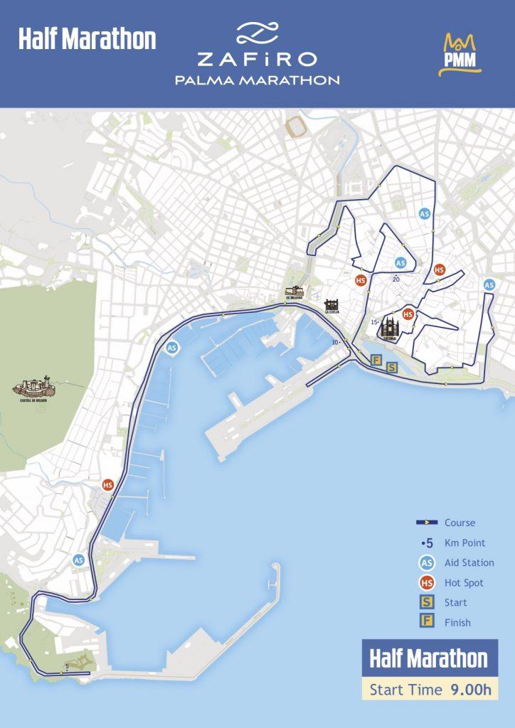 Маршрут полумарафонского круга в рамках марафона в Пальма-де-Майорка 2018