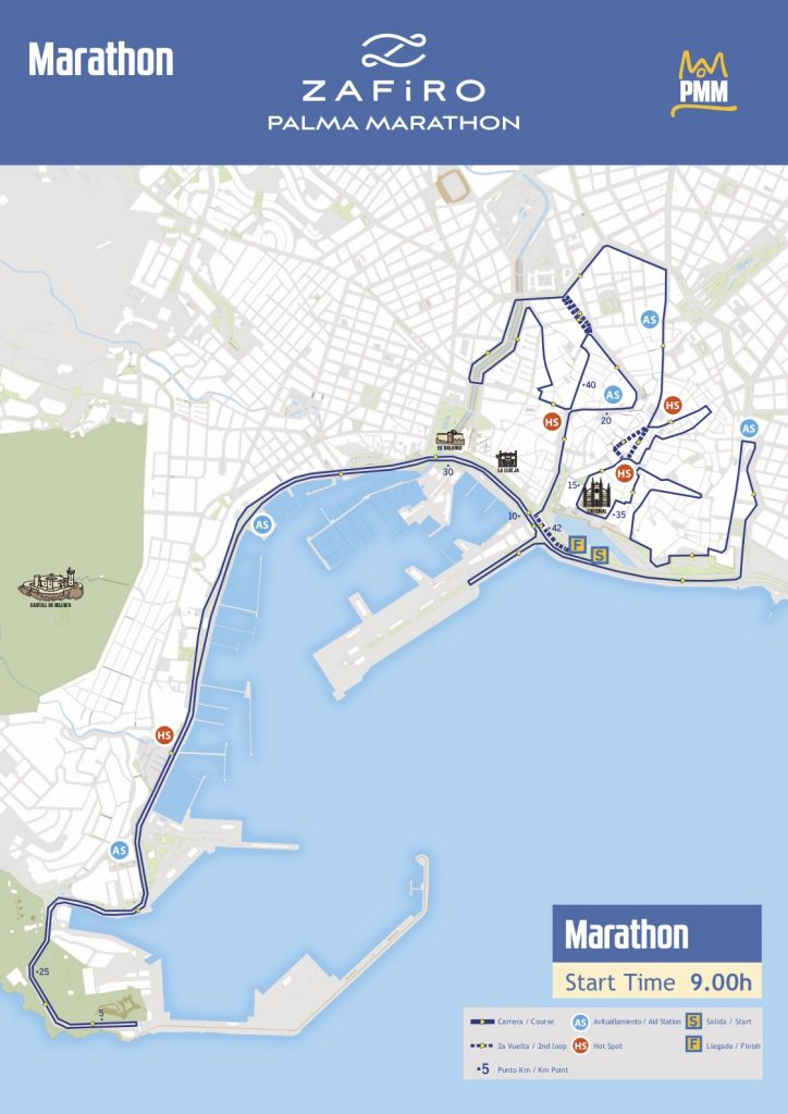 Маршрут марафона в Пальма-де-Майорка 2018