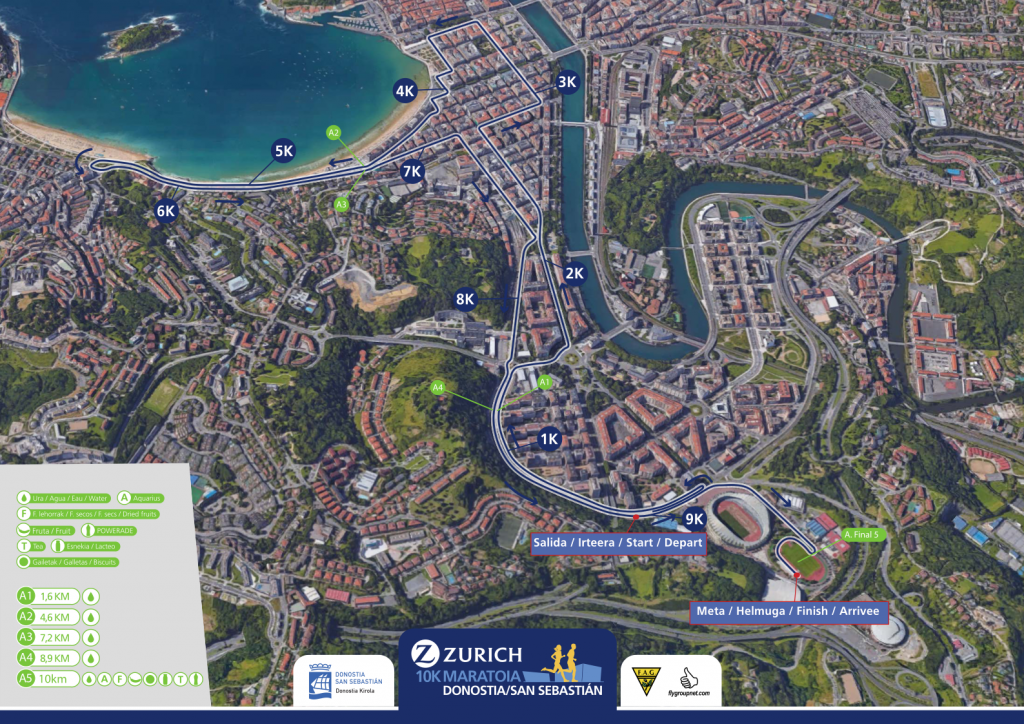 Трасса забега на дистанцию 10 км в Сан Себастьяне 2018 с пунктами освежения