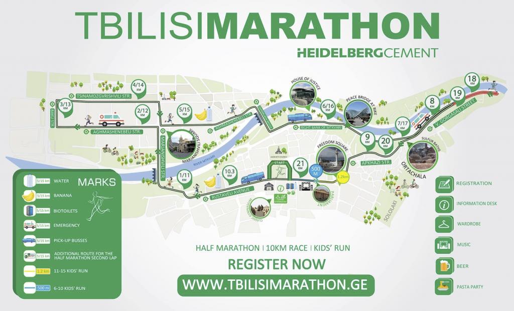 Трасса полумарафона (HeidelbergCement TbilisiMarathon) 2018 и других соревнований