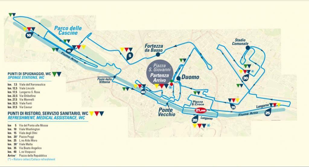 Трасса Флорентийского марафона (Asics Firenze Marathon) 2018