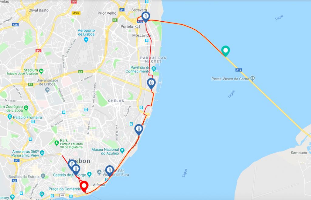 Трасса полумарафона Vodafone Lisbon Half Marathon 2018 в Лиссабоне