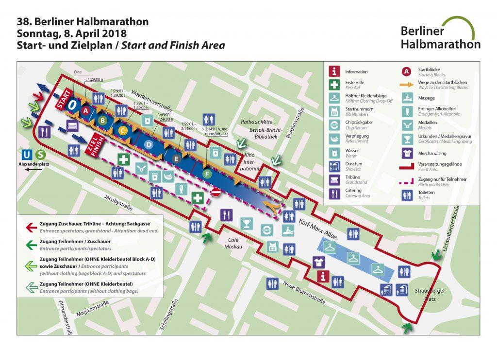Зона старта/финиша Берлинского полумарафона (Generali Berliner Halbmarathon) 2018. В 2019 место старта и финиша изменилось