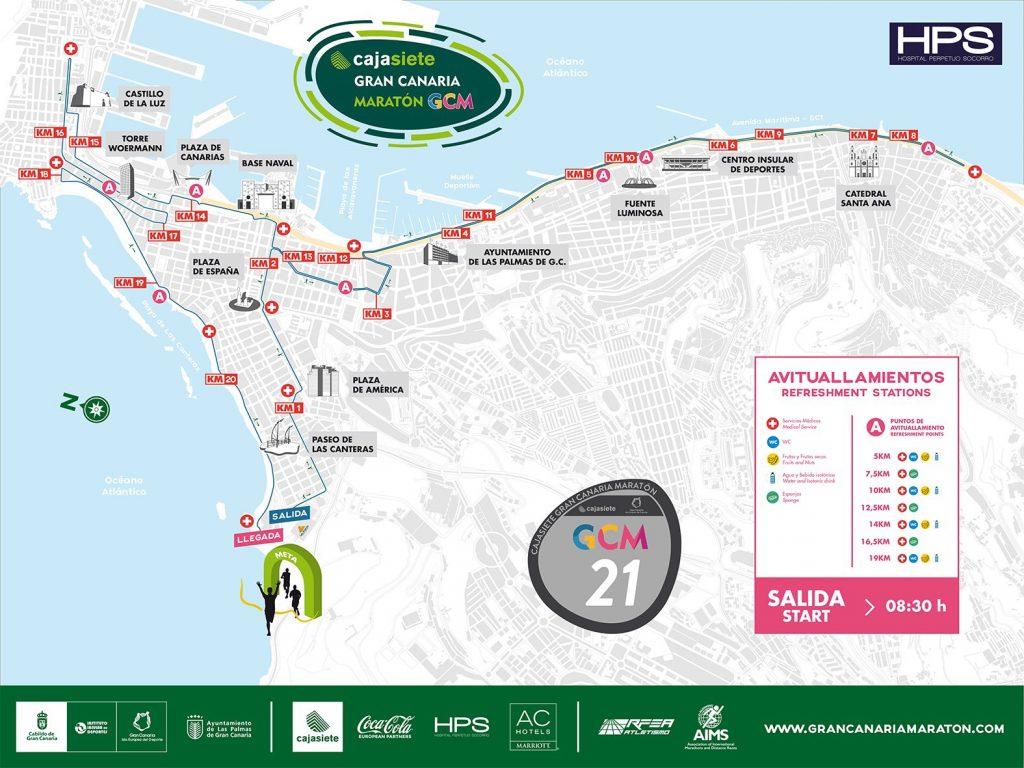 Трасса Гран-канарского полумарафона (Cajasiete Gran Canaria Half Marathon) 2019