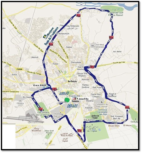 The course of the Marrakech Marathon (Marathon International de Marrakech) 2021