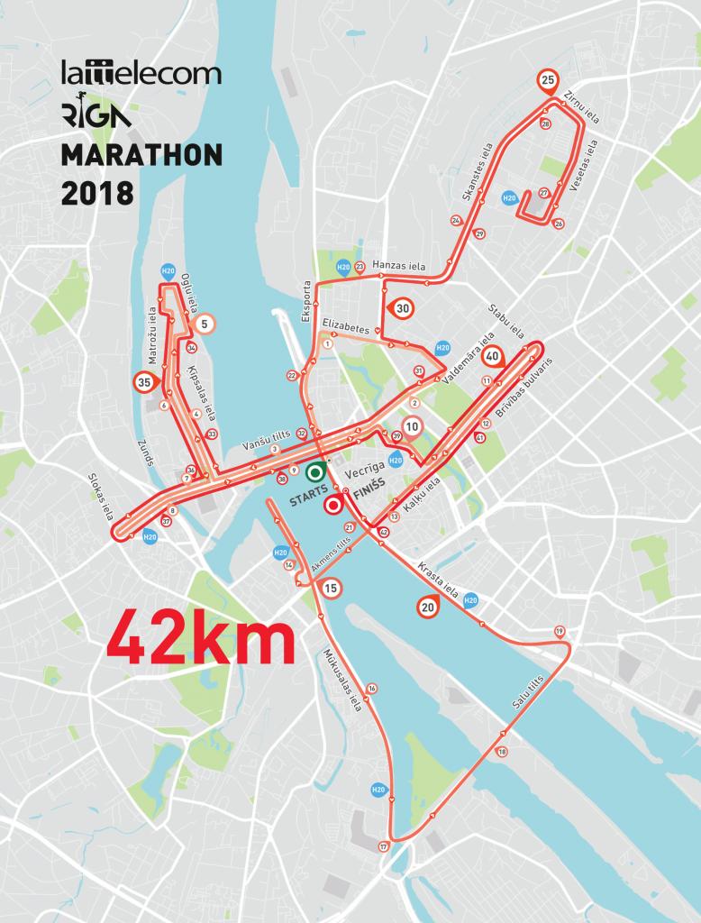 Трасса Рижского марафона (Tet Rīgas maratons) 2018
