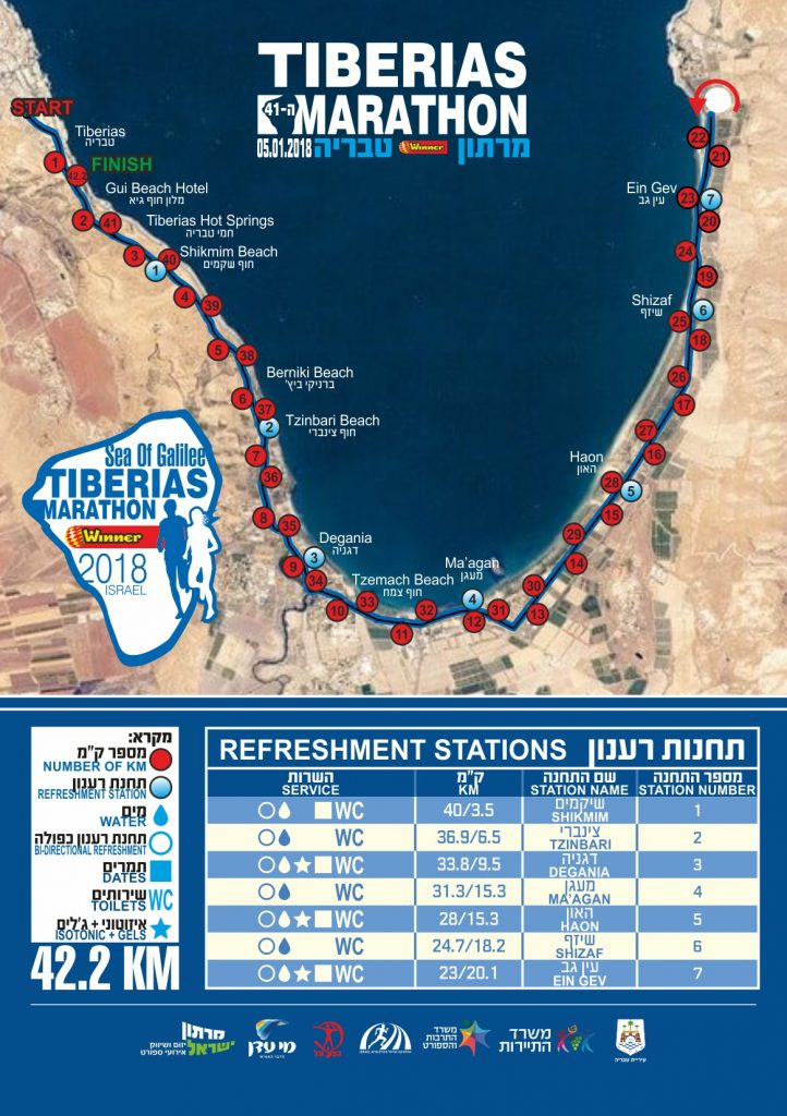 Трасса Тверийского марафона 2019 (Sea of Galilee Tiberias International Winner Marathon)