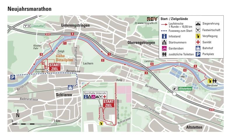Трасса забегов Новогоднего Цюрихского марафона (Neujahrsmarathon Zürich) 2019