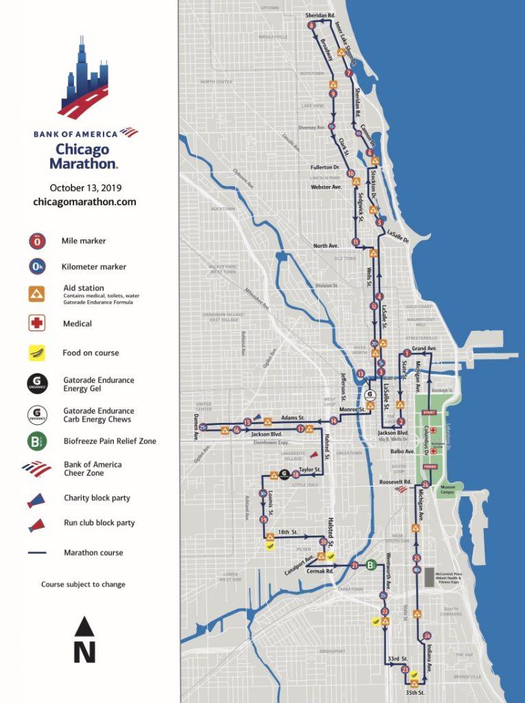 Трасса Чикагского марафона (Bank of America Chicago Marathon) 2019