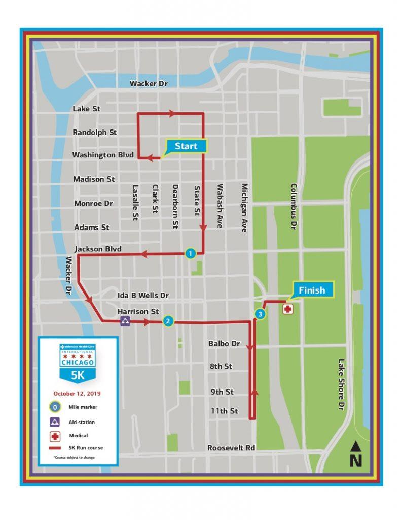 Трасса забега на 5 км в рамках Чикагского марафона (Bank of America Chicago Marathon) 2019