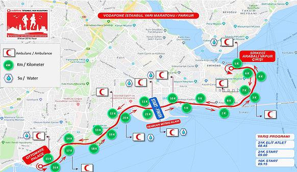 Маршрут полумарафона в Стамбуле (Vodafone Istanbul Half Marathon) 2018