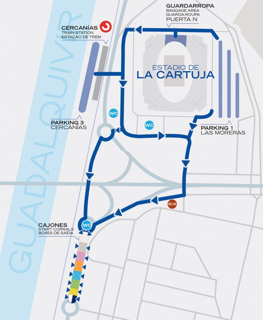 Зона старта Севильского марафона (Zurich Maratón de Sevilla) 2019